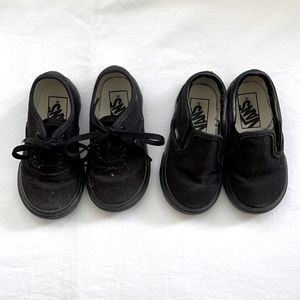 VANS🖤 Two -for-One black canvas slip-on and lace sneakers